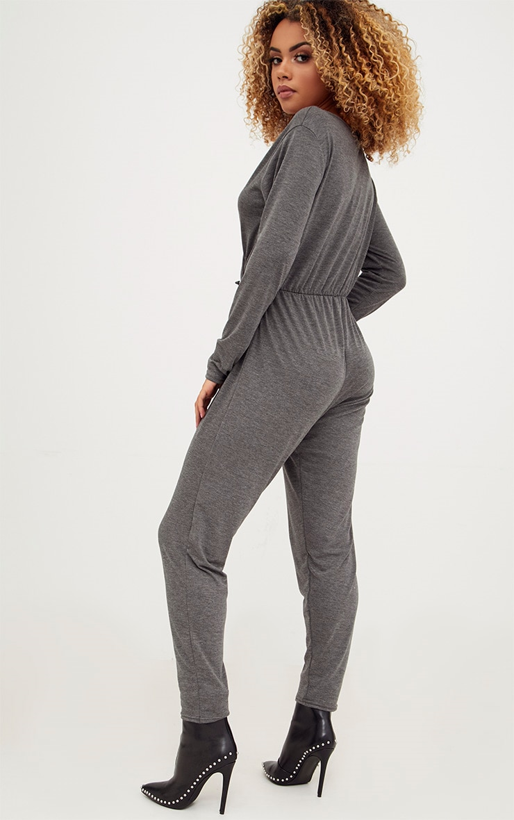 Charcoal Jersey Long Sleeve Wrap Jumpsuit 2