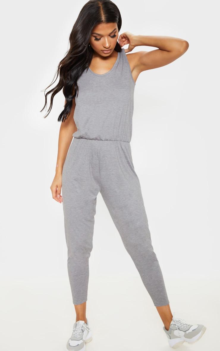 Grey Jersey Sleeveless Elasticated Waist Jumpsuit 4