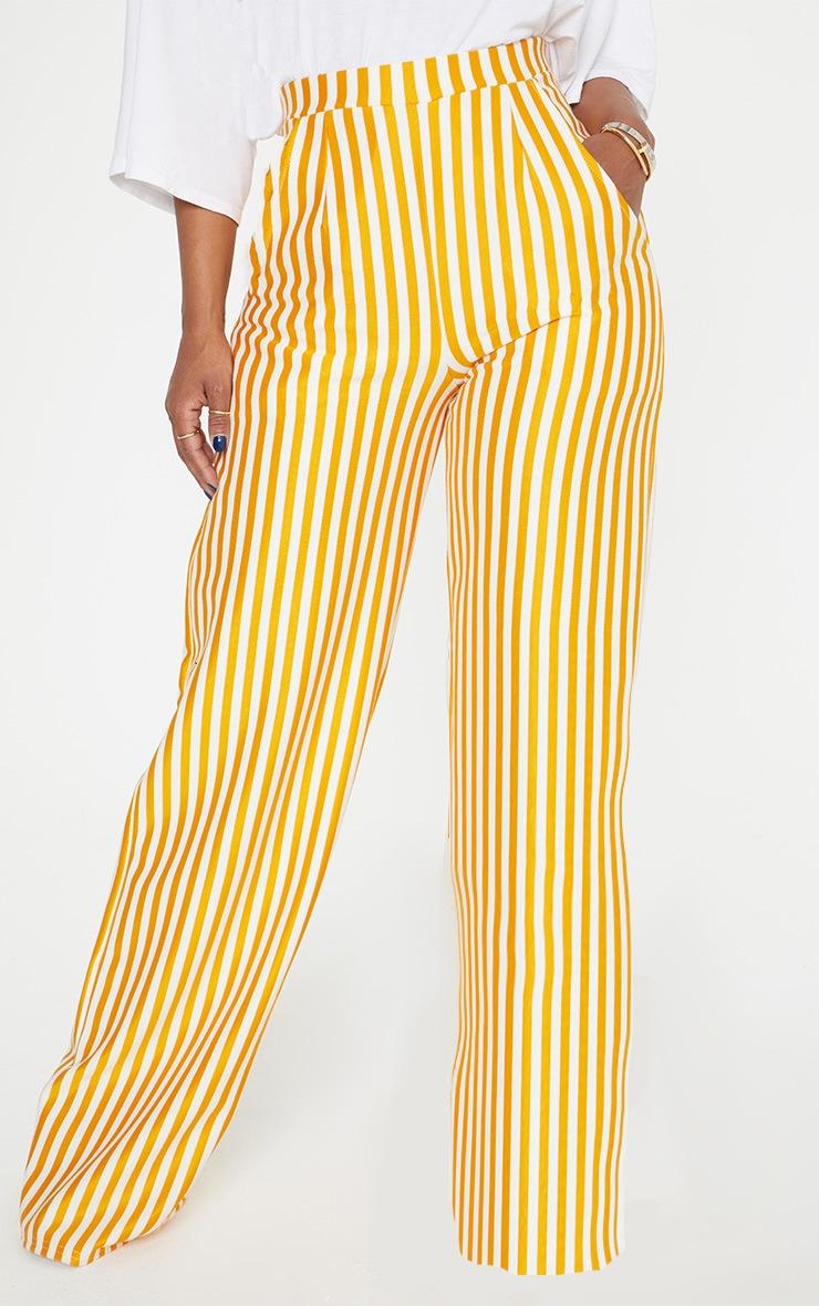 Shape Mustard Striped Wide Leg Trousers 2