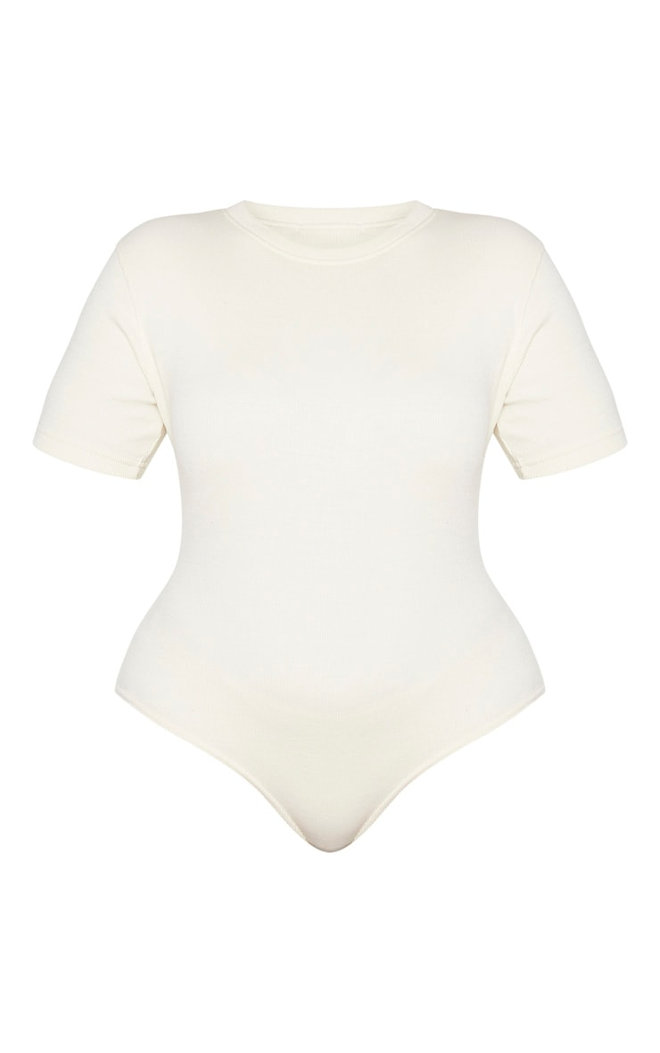 Plus Cream Thick Rib Cap Sleeve Bodysuit 5