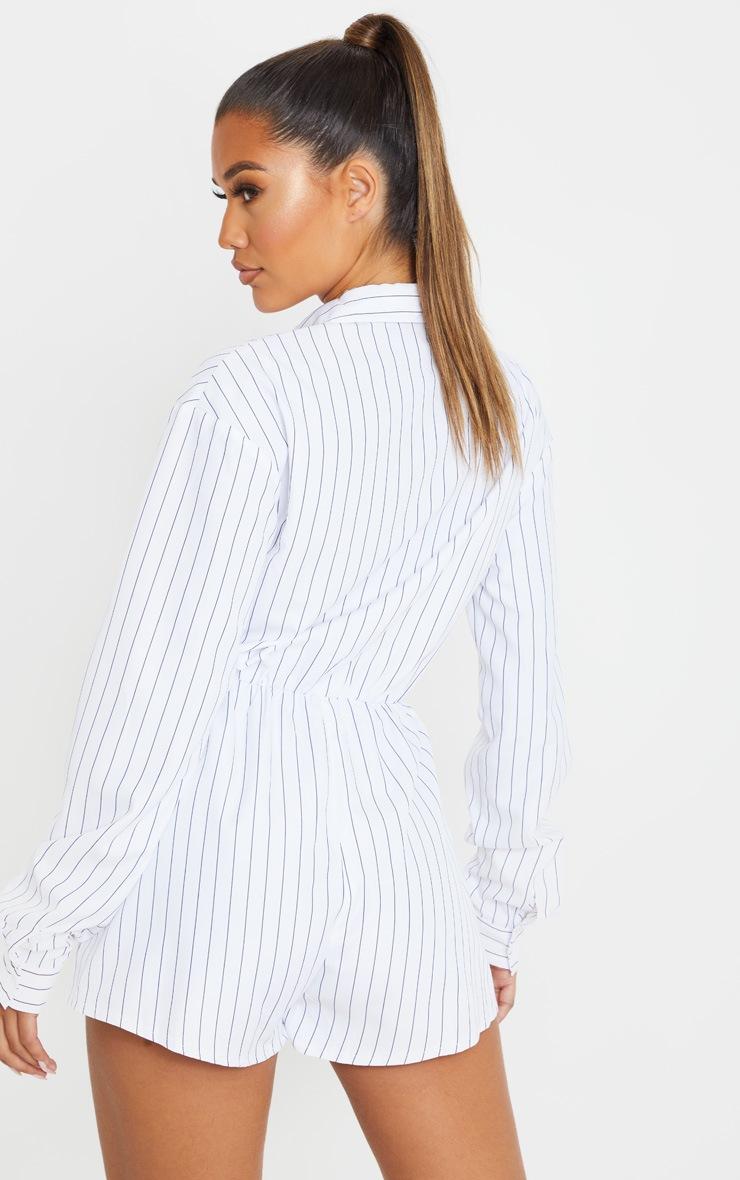White Pinstripe Print Shirt Playsuit 2