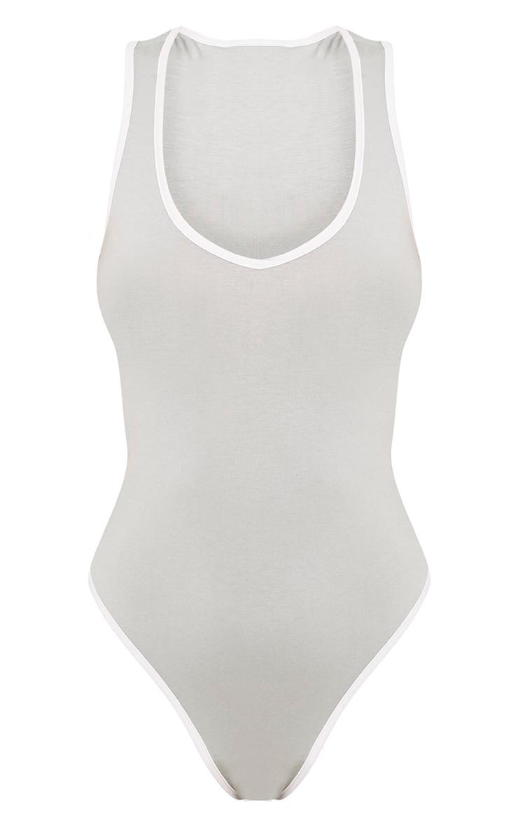 Basic Sage Green Jersey Contrast Thong Bodysuit 3