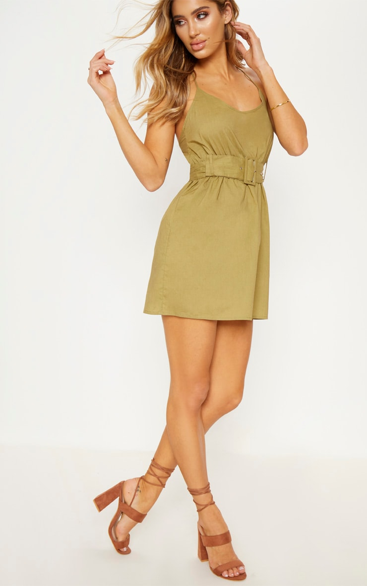 Khaki Belt Detail Skater Dress