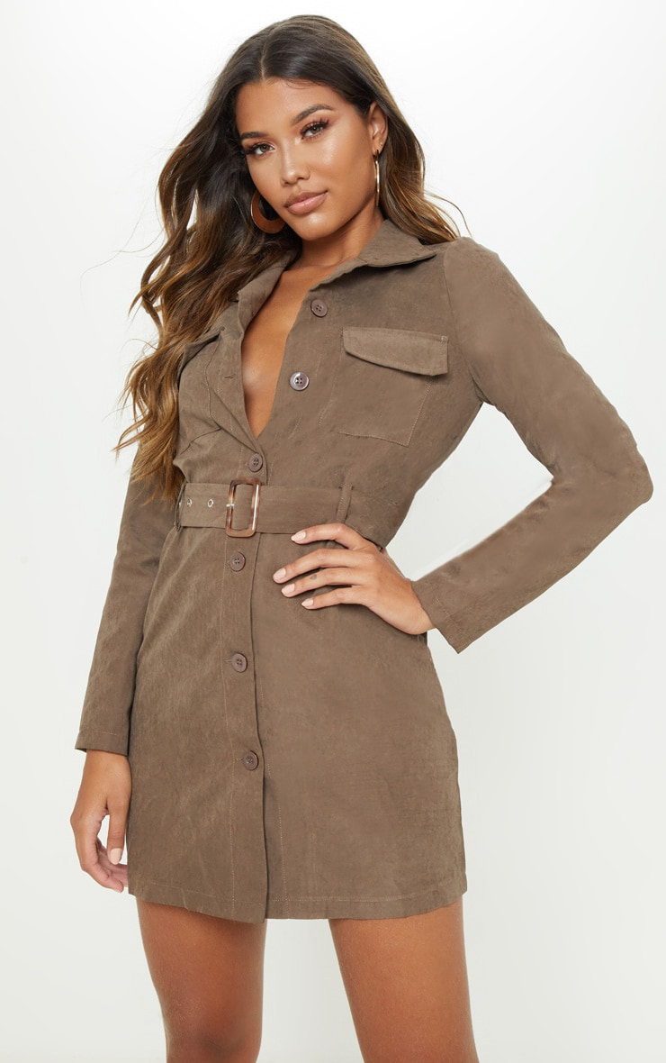 Chocolate Faux Suede Button Front Belted Cargo Dress 1
