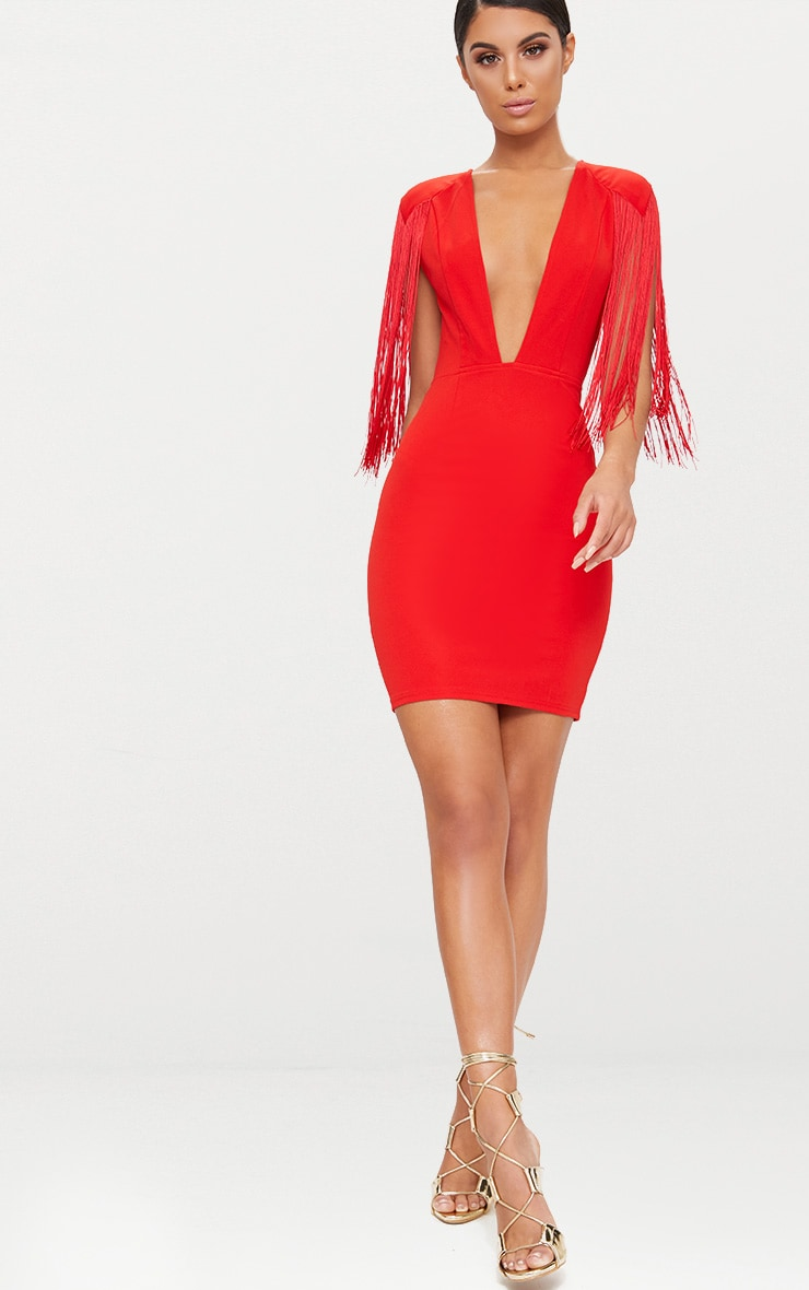 Red Tassel Shoulder Extreme Plunge Bodycon Dress  5