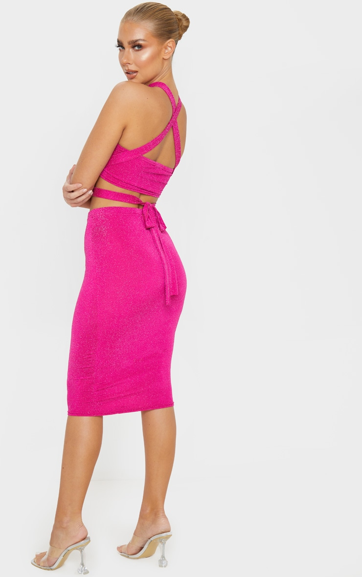 Hot Pink Textured Glitter Tie Detail Bandeau Top 4
