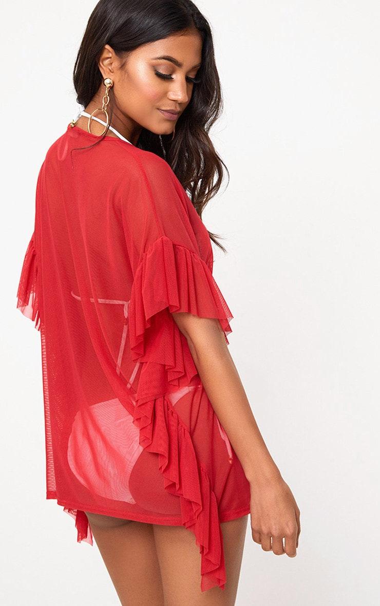 Red Sheer Mesh Frill Edge Beach Cover Up 2