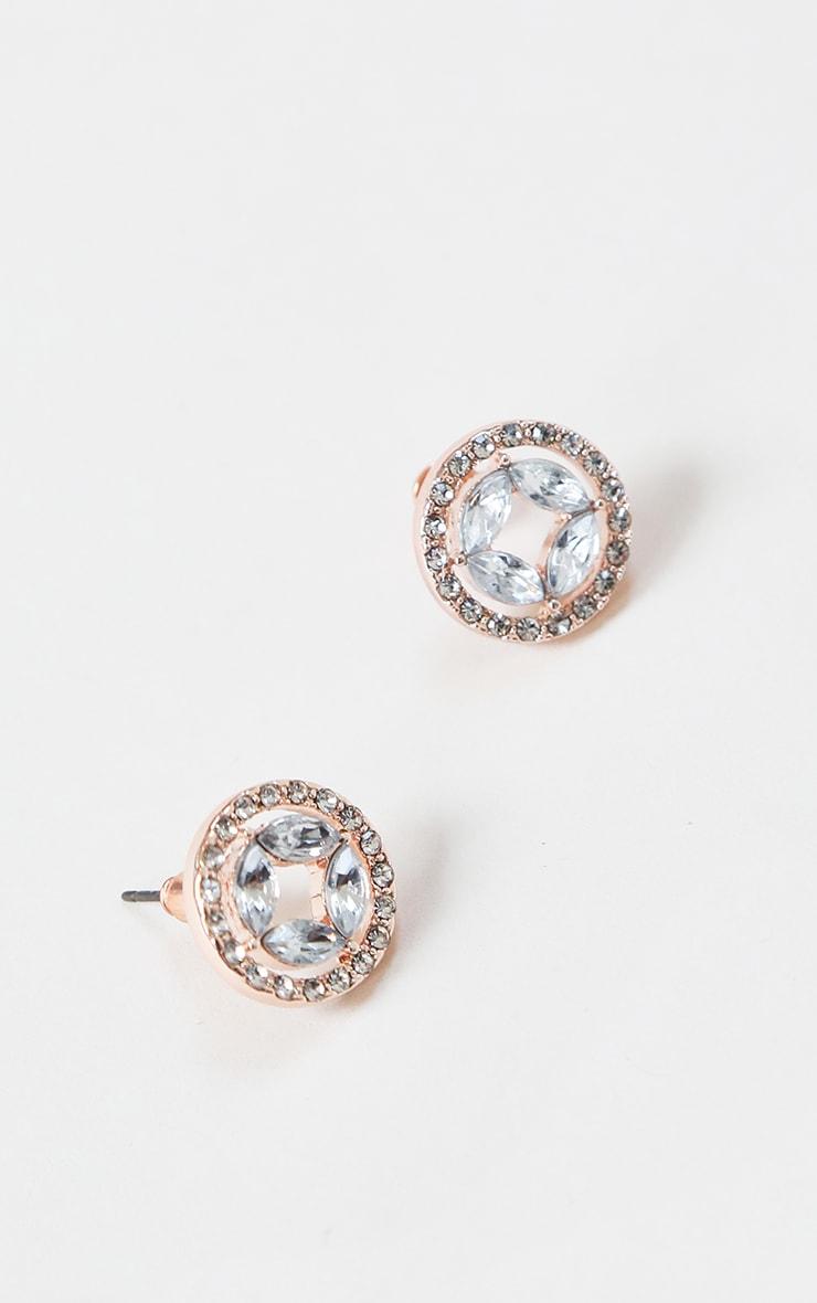 Gold Circular Diamante Small Stud Earring 2