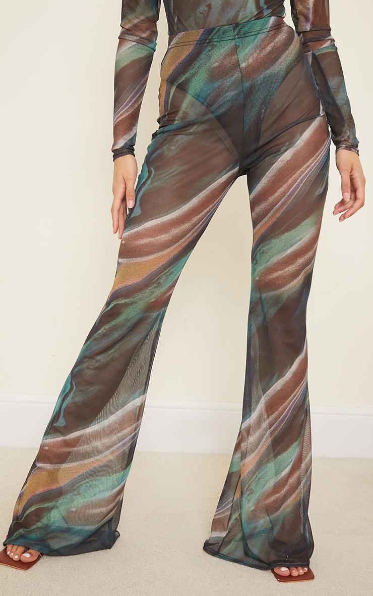 Green Swirl Printed Sheer Mesh Flared Pants 2