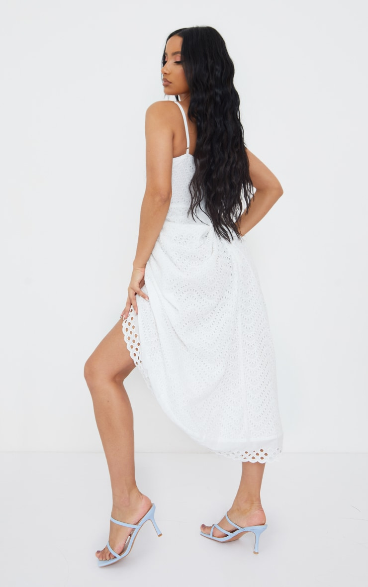 White Broderie Anglaise Strappy Corset Drape Midi Dress 2