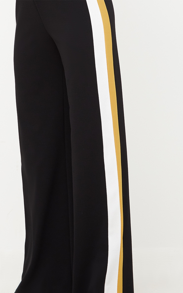 Black Contrast Stripe Wide Leg Trousers 5
