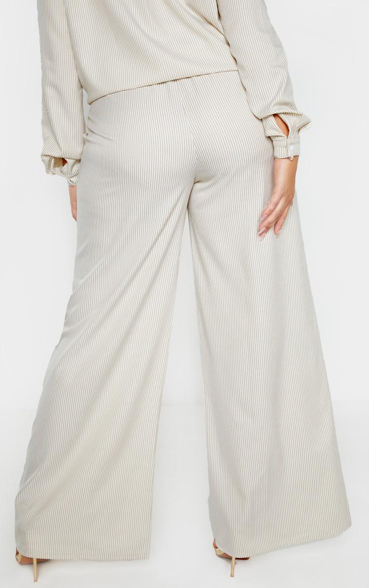 Plus Stone Striped Button Detail Wide Leg Pants  4