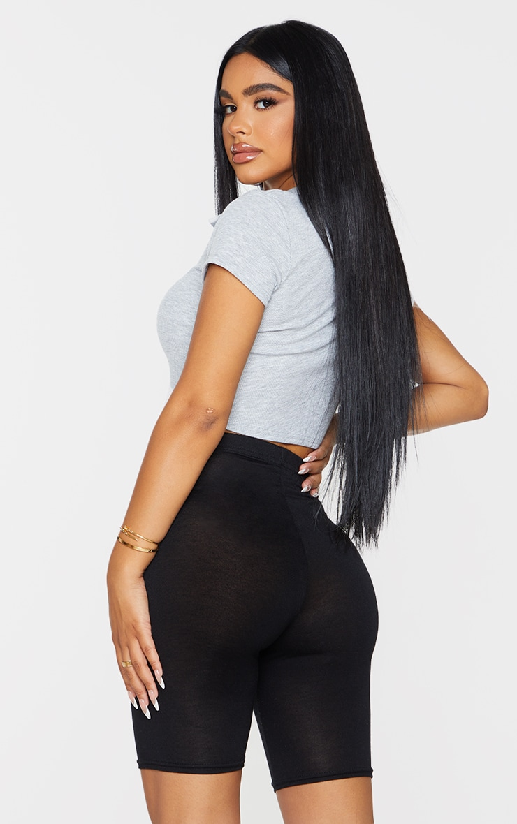 Petite Grey Ribbed Curved Hem Polo Top 2