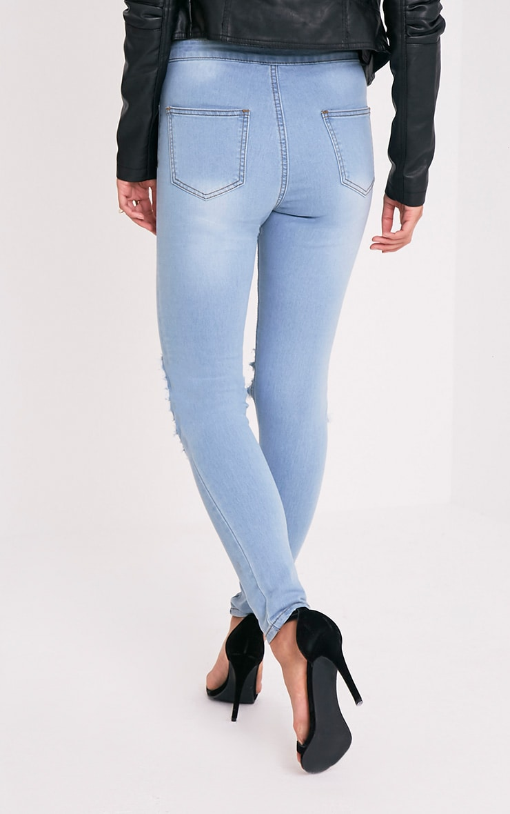 Light Wash Open Knee Rip High Waisted Skinny Jean 2