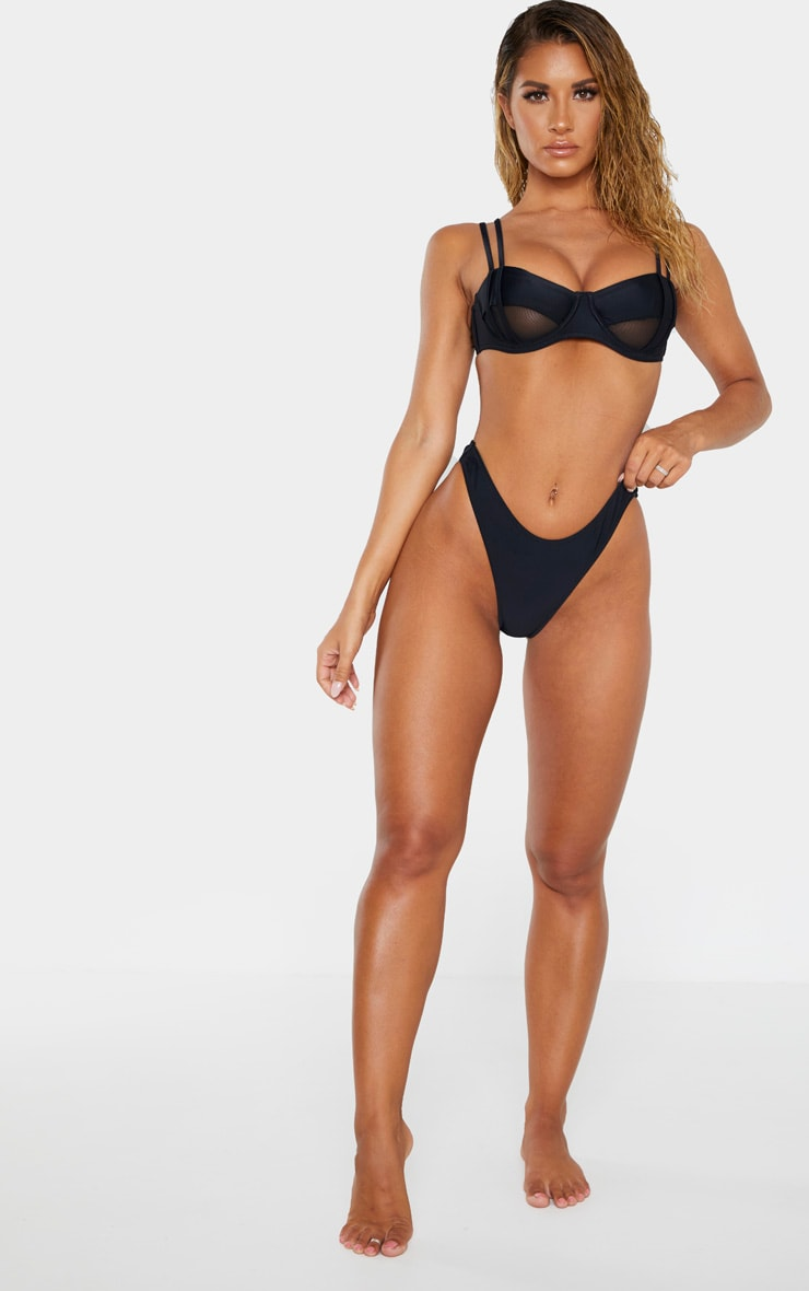 Black High Leg Mini Bikini Bottom 5