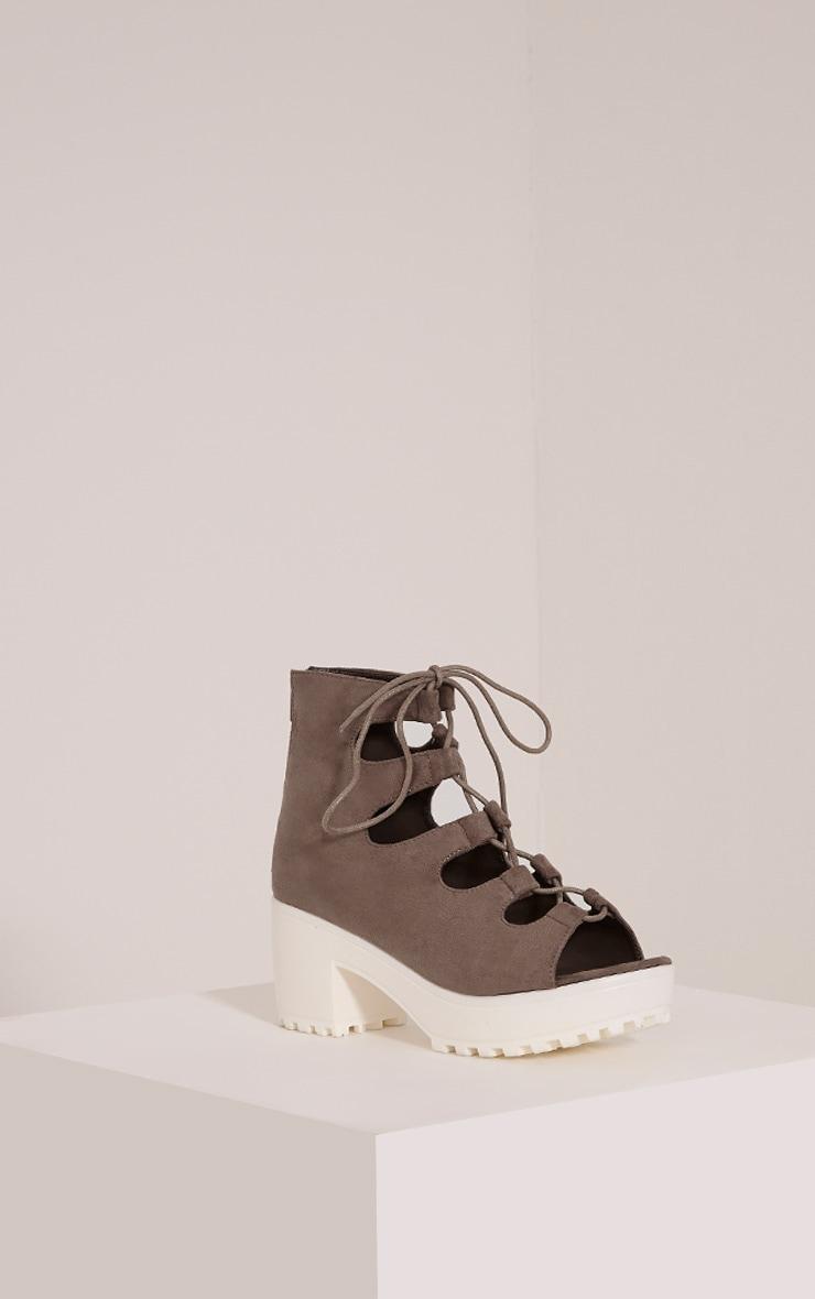 Caprice Mocha Faux Suede Lace Up Sandals 3