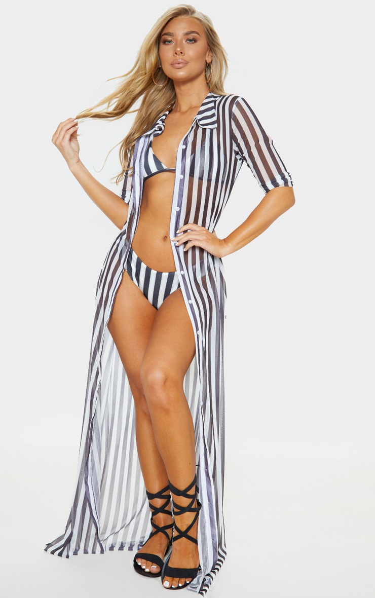 Black And White Stripe Maxi Button Down Beach Dress by Prettylittlething