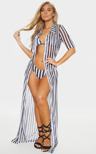 bf7359a58c148 Black And White Stripe Maxi Button Down Beach Dress