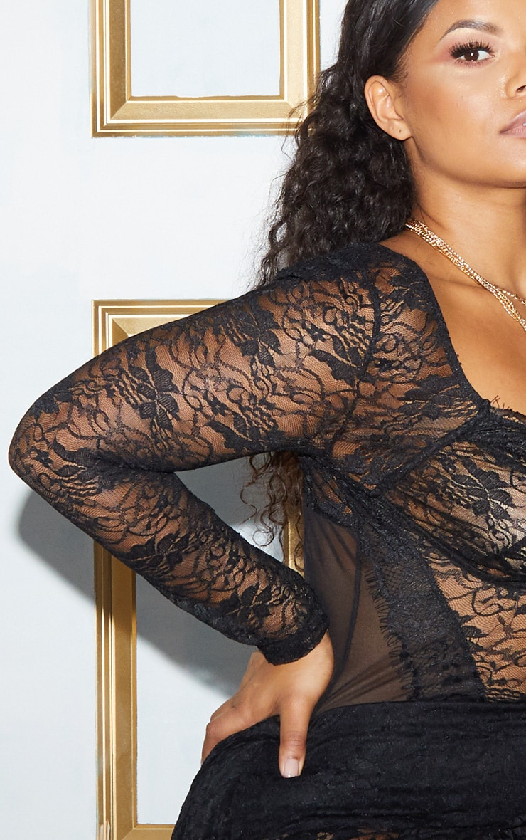 Plus Black Lace Mesh Long Sleeve Bodysuit 8