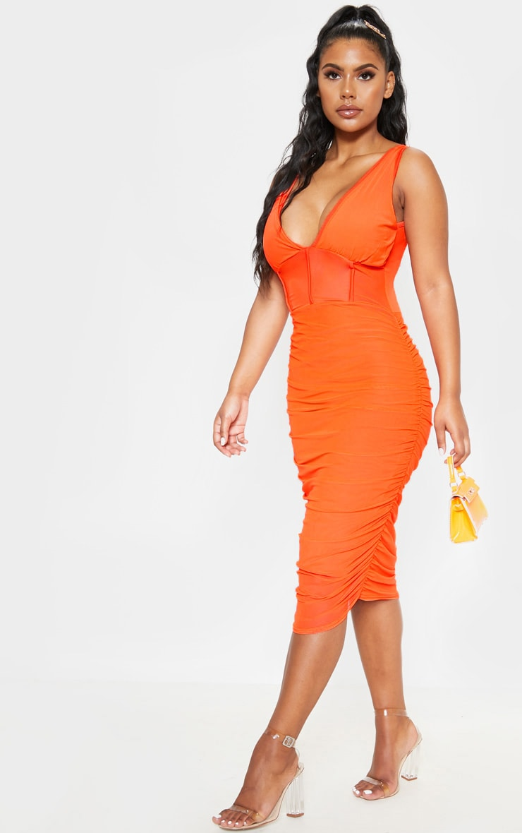 Bright Orange Mesh Binding Ruched Midi Dress 4