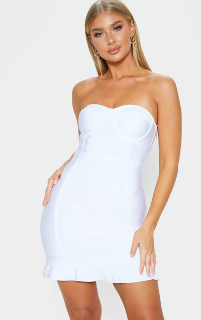 fa426e8229 Presli White Bandage Frill Hem Bodycon Dress