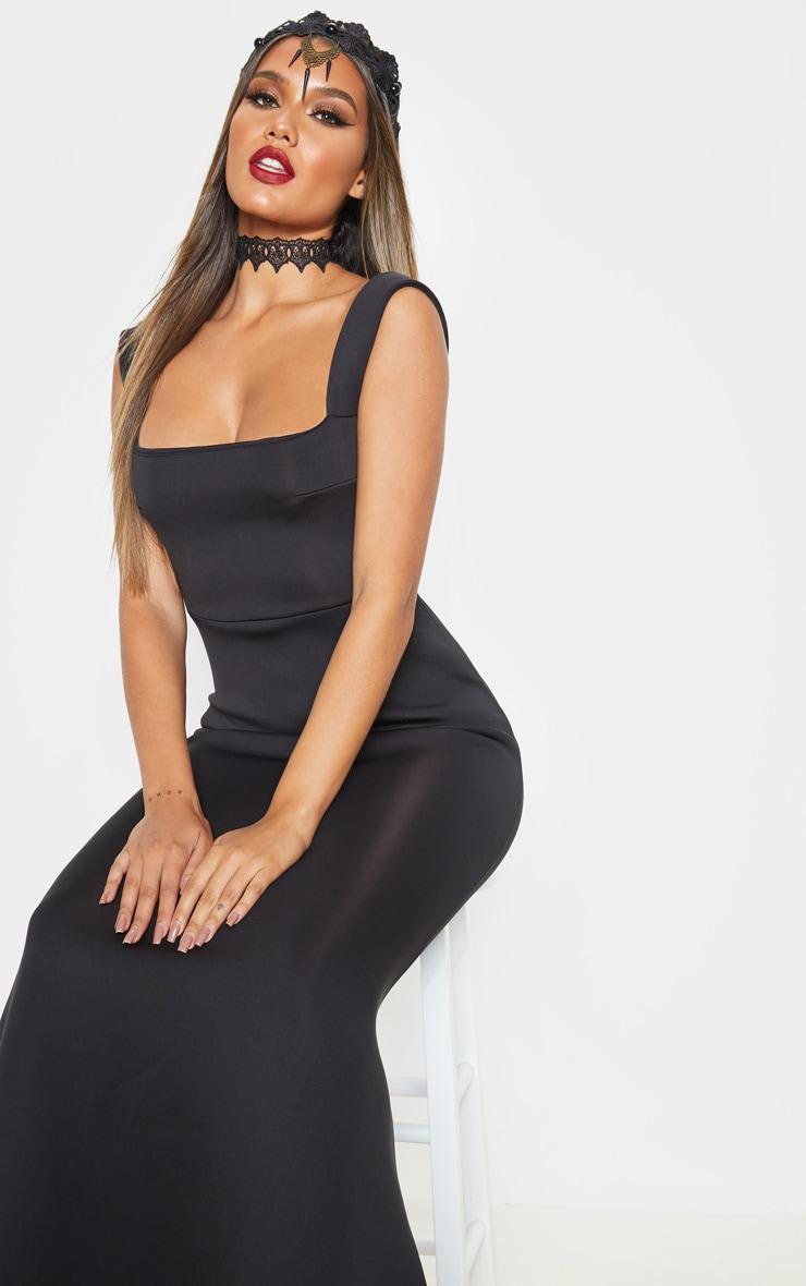 Black Strappy Square Neck Maxi Dress 5