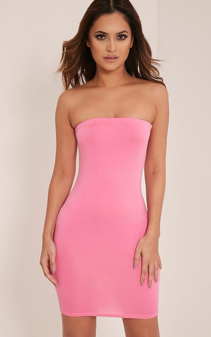 Lorrie Bubblegum Pink Bandeau Bodycon Dress 1
