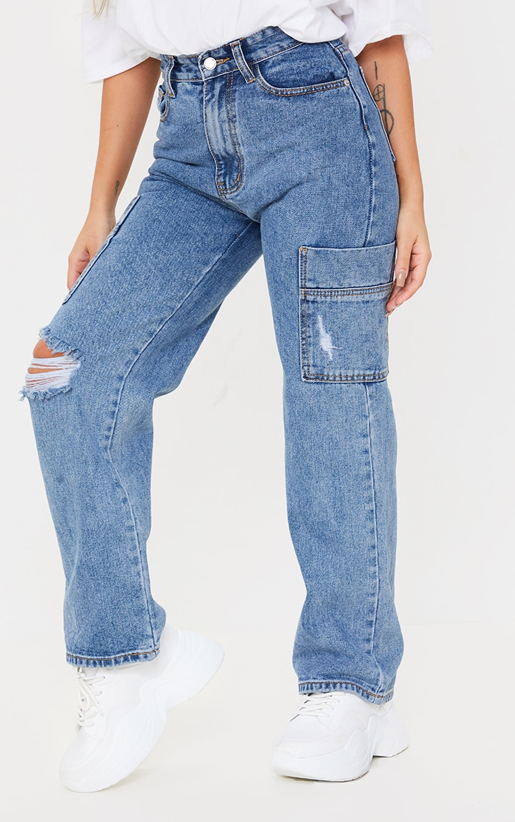 Petite Mid Blue Wide Leg Distressed Cargo Jeans 2
