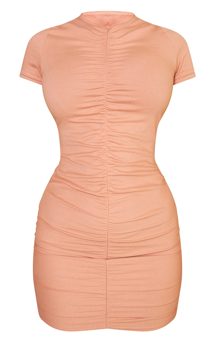 Camel Ruched Front T Shirt Dress 5