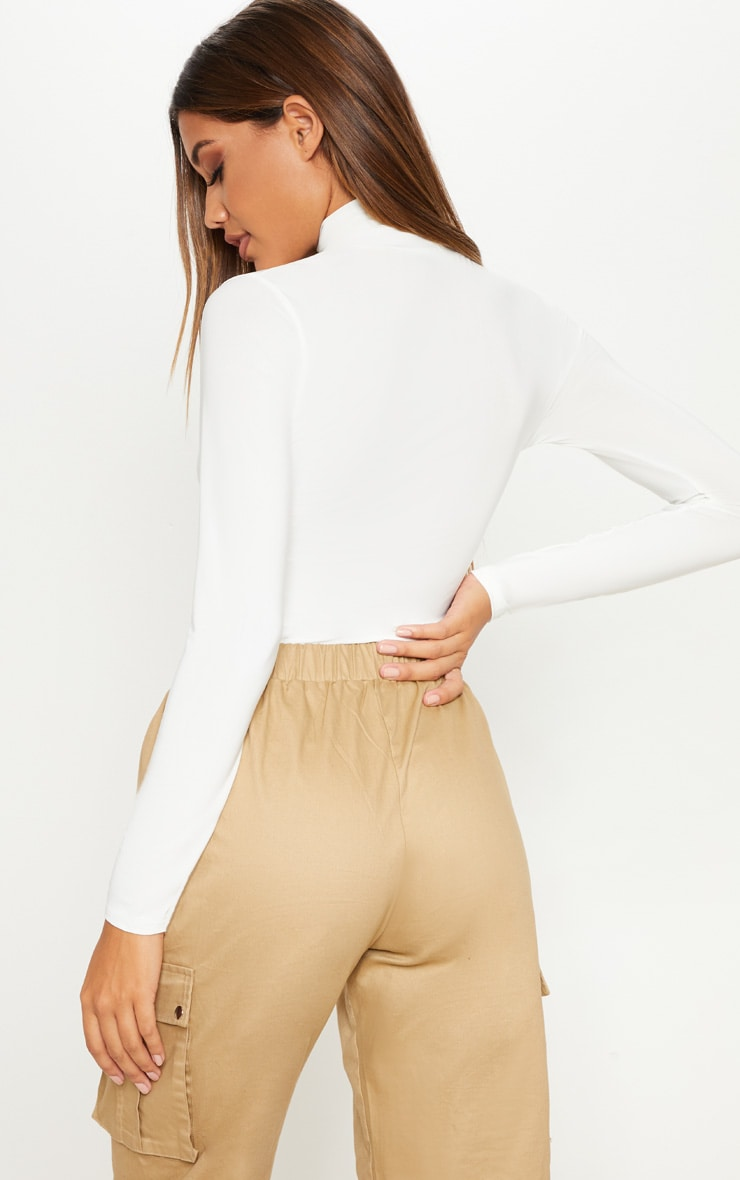 Cream Long Sleeve Slinky Roll Neck Top 2