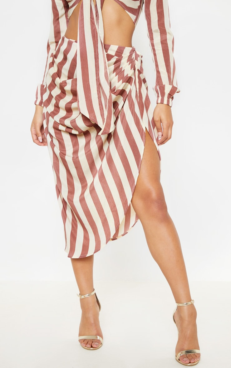 Tan Stripe Ruched Side Midi Skirt 2