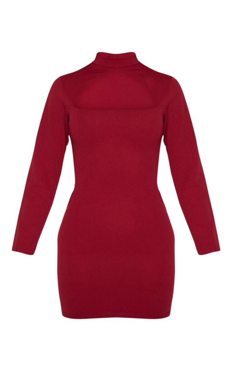 Tall Burgundy High Neck Cut Out Long Sleeve Dress 3