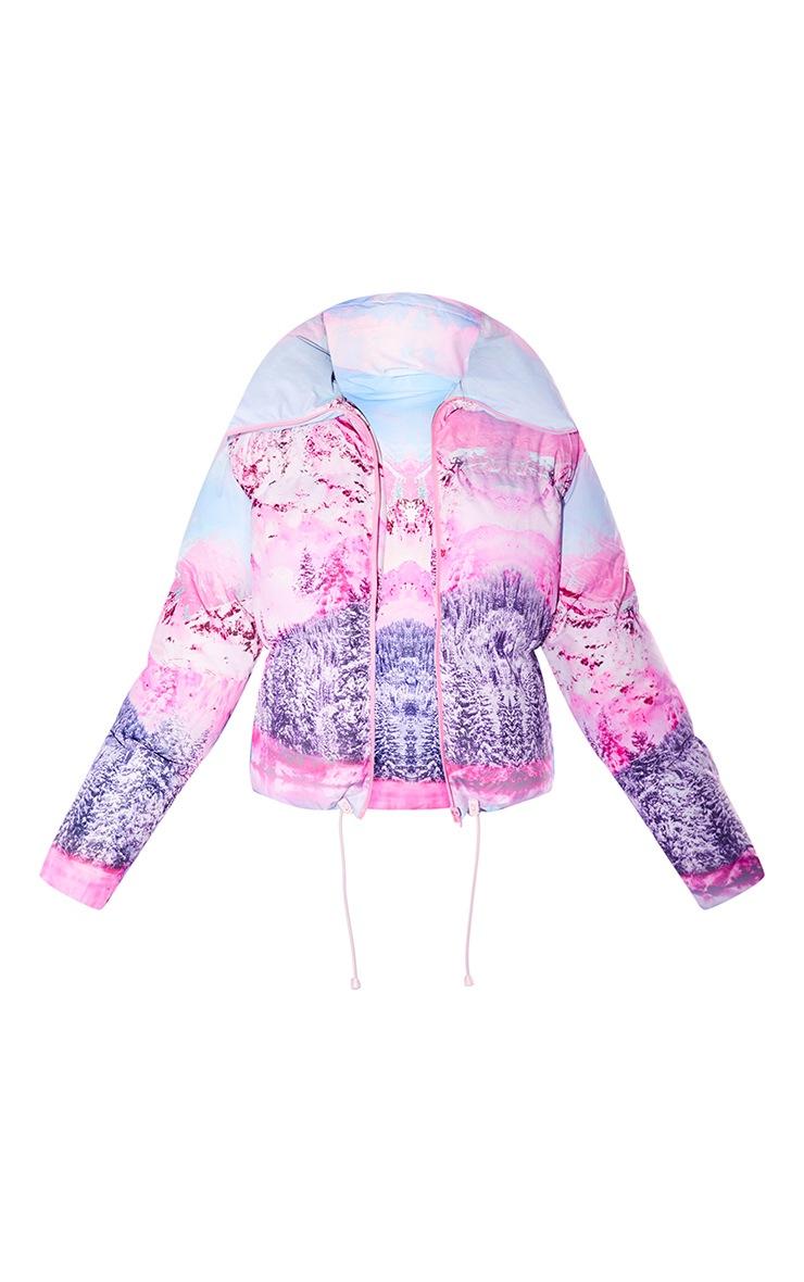PRETTYLITTLETHING Ski Pink Landscape Print Puffer Coat 5