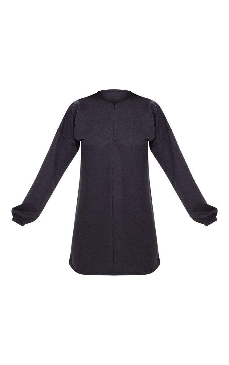 Charcoal Blue Zip Front Sweat Dress 3