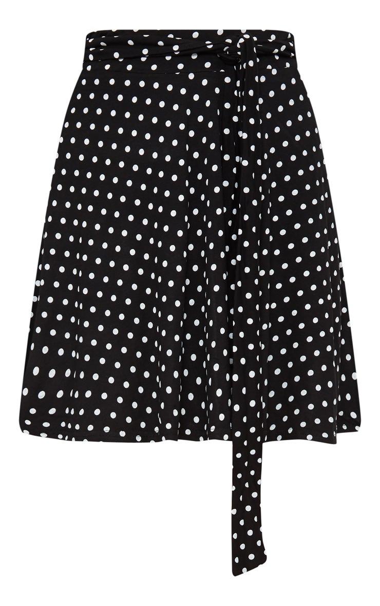 Black Jersey Polkadot Tie Waist Skirt 3