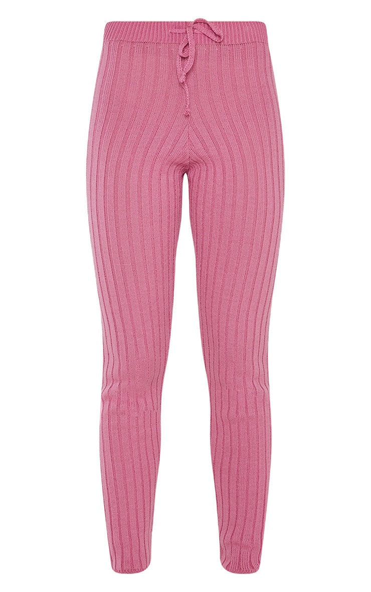 Pink Knitted Ribbed Trouser 3