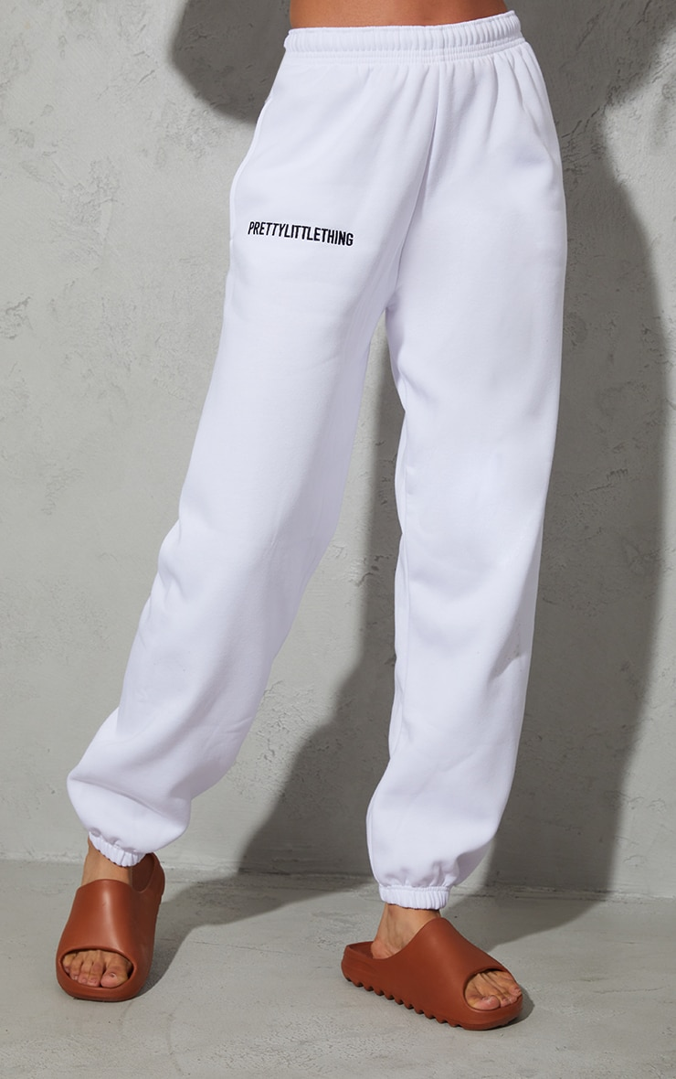 PRETTYLITTLETHING White Embroidered Graphic Joggers 2