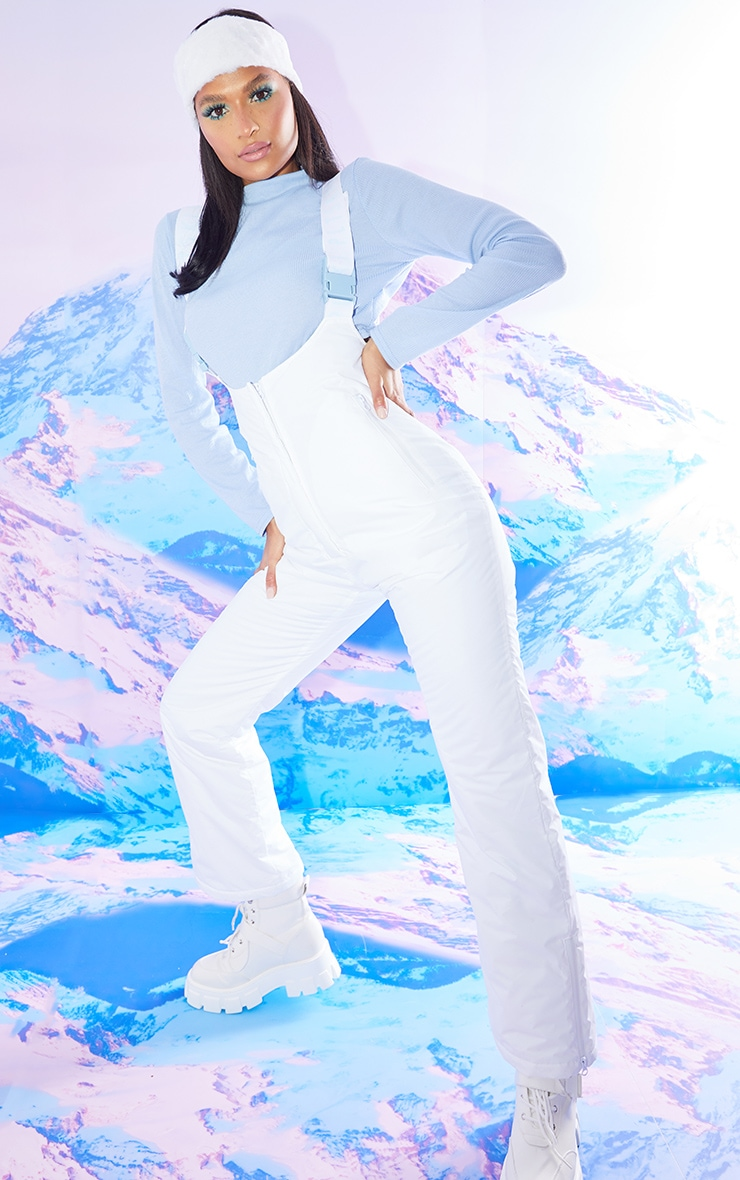 PRETTYLITTLETHING Ski Pastel Blue Tape White Overall Salopettes 4