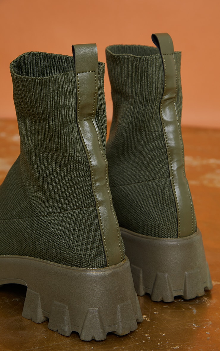 Khaki Knitted Sock Ankle Boots 3