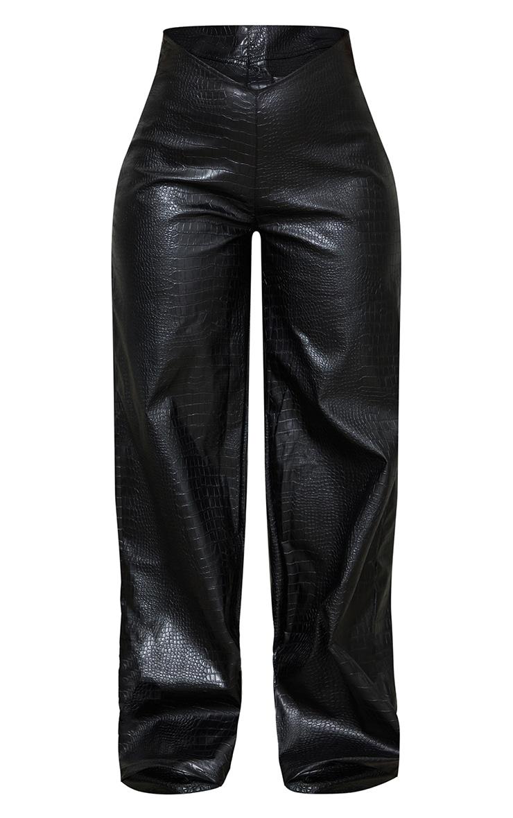 Black Croc PU Wide Leg Trousers 5