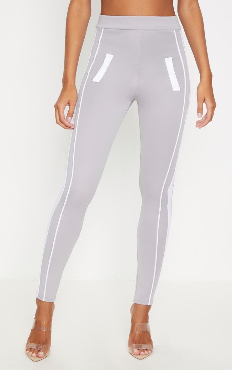 Grey Scuba Contrast Side Stripe Skinny Trouser 2