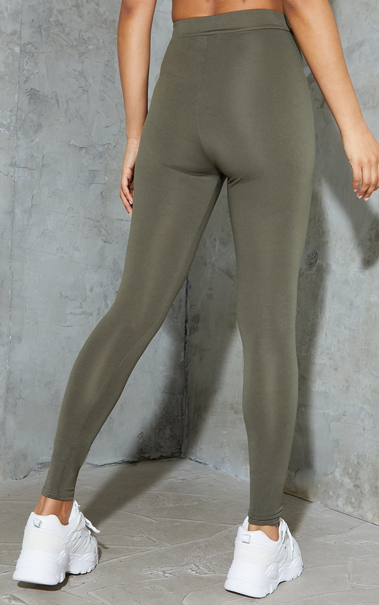 Khaki Tie Front Sports Leggings 3