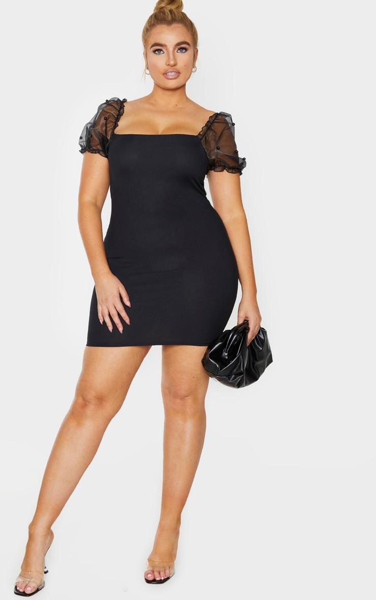 Plus Black Organza Beaded Puff Sleeve Bodycon Dress 3