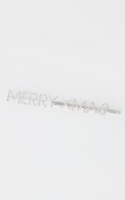 Silver Merry Xmas Slogan Hair Slide