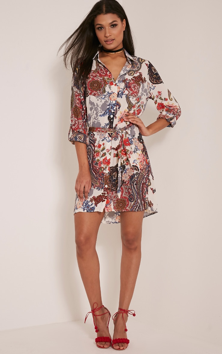 Abagail Cream Paisley Floral Printed Shirt Dress 4
