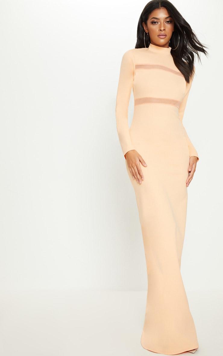 Tangerine Mesh Panel Detail High Neck Maxi Dress Pretty Little Thing nR695xe5t