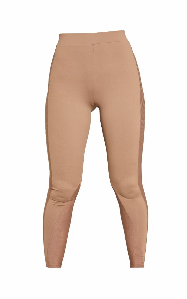 Brown High Waist Mesh Side Gym Leggings 5