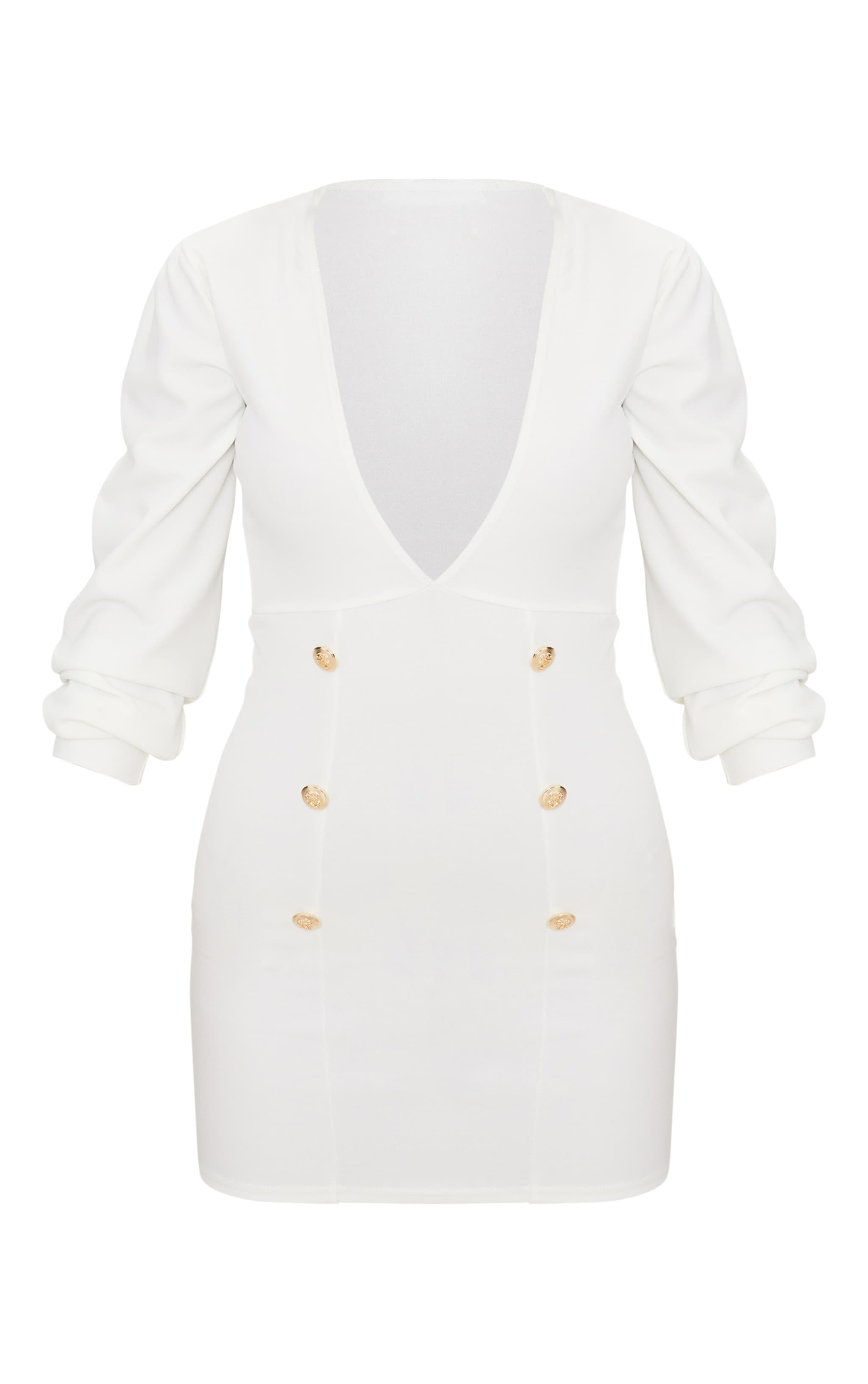 White Plunge Tux Bodycon Dress  4