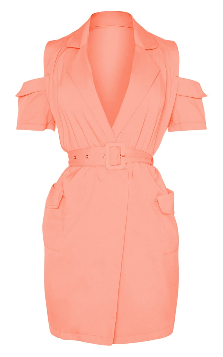 Coral Cold Shoulder Utility Blazer Dress 3