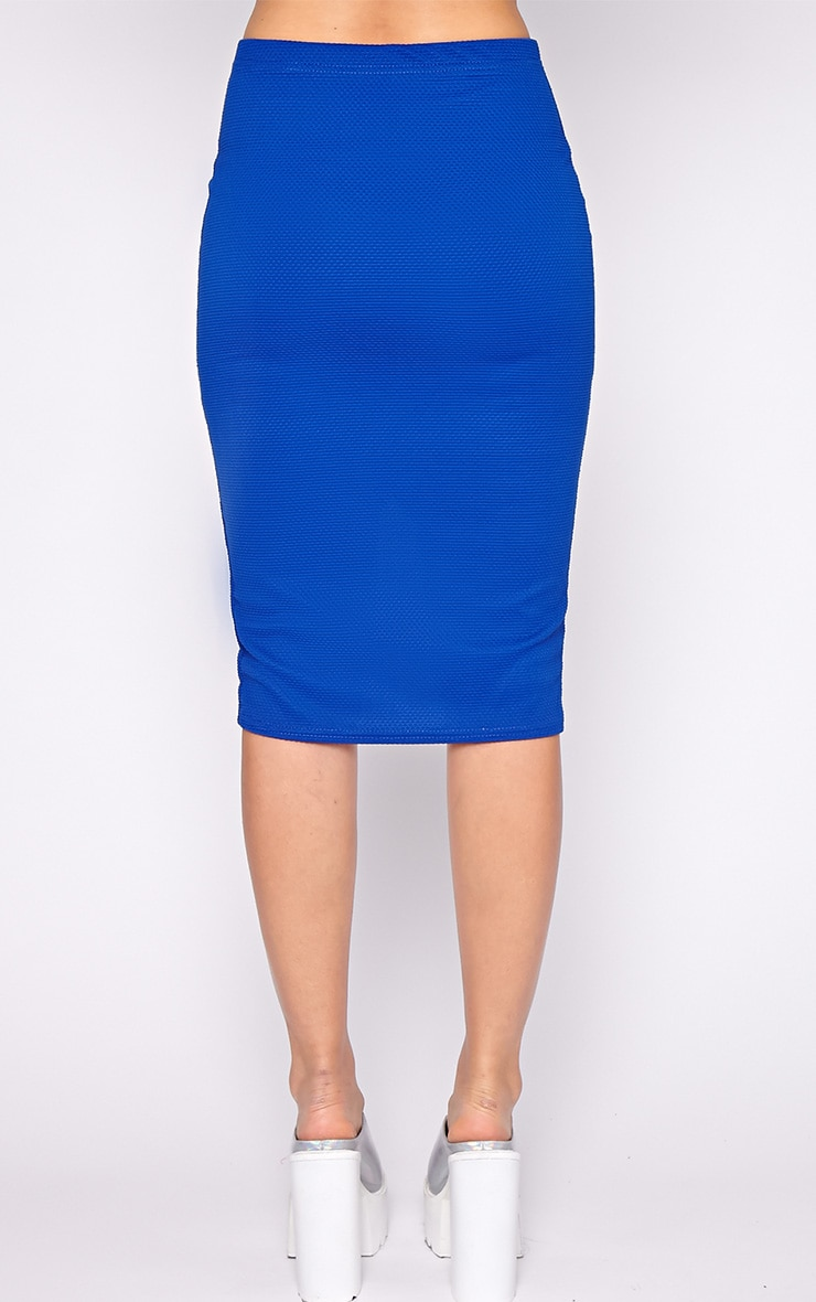 Tia Cobalt Textured Midi Skirt 4